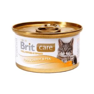 Брит Care 100062 консервы для кошек Тунец, морковь и горошек 80г