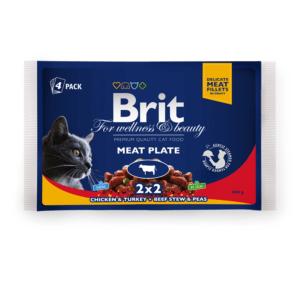 Брит Premium 06262 Набор паучей для кошек Мясная тарелка 4*100г