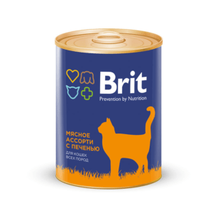 Брит 29426 консервы для кошек Мясное ассорти с печенью 340г