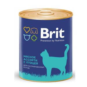 Брит 29440 консервы для кастрированных котов Мясное ассорти с птицей 340г