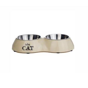 Beeztees 650404 Best Cat Миска 2в1 д/кошек двойная бежевая 160мл*26,5*15см