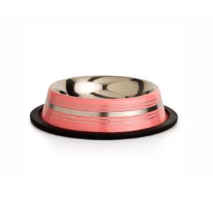 Beeztees 653736 Миска д/кошек стальная нескользящая розовая в полосочку 180мл*11см