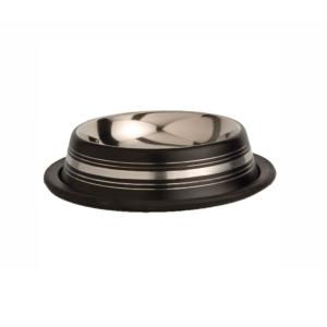 Beeztees 653739 Миска д/кошек стальная нескользящая черная в полосочку 180мл*11см