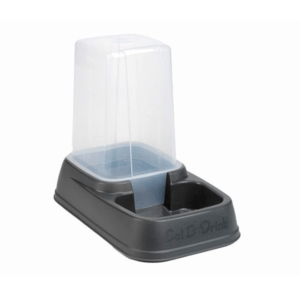 Beeztees 650033 Миска-дозатор для корма или воды, пластиковая антрацитовая 33,5*20*27см