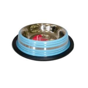 Beeztees 653738 Миска д/кошек стальная нескользящая голубая в полосочку 180мл*11см