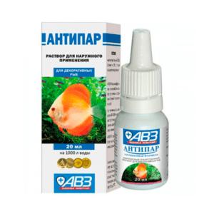 АВЗ Антипар для борьбы с возбудителями грибковых, бактериальных болезней у аквариумных рыб 20мл